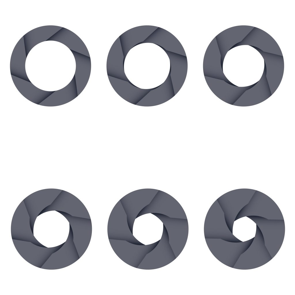 Set of black camera shutter icons on white background.