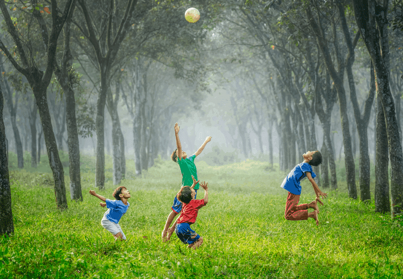 four boys playing ball on green grass