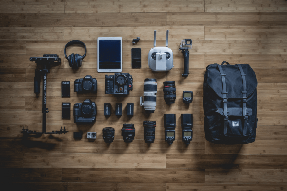 photo of DSLR camera gear