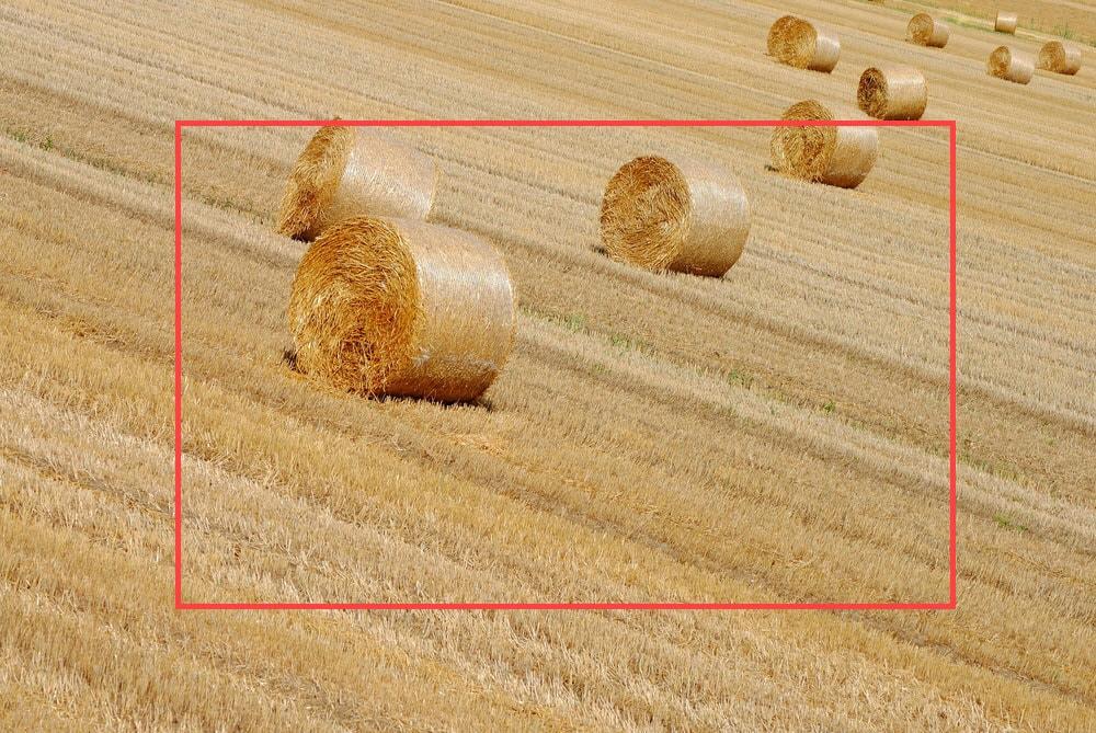 Background of bales of hay in farmlands - crop