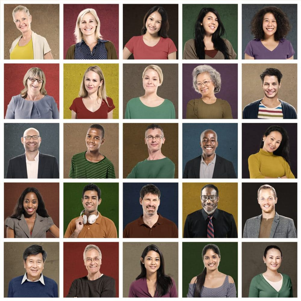 Multi-ethnic People Colorful Smiling Portrait Concept