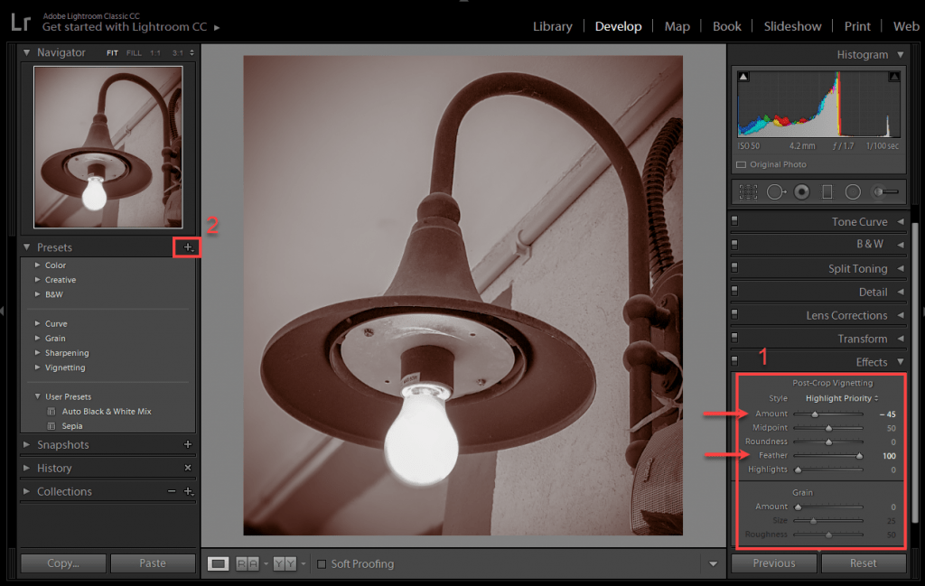 Go to effects and just add a simple Post-Crop Vignetting